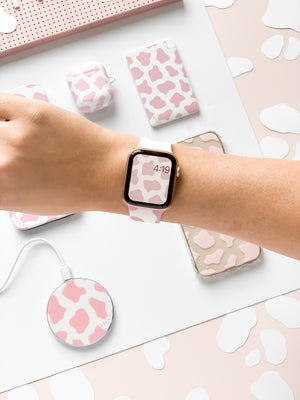 Cow Print Pink Apple Watch Strap - thefonecasecompany