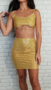 Shattered Gold Strap Top