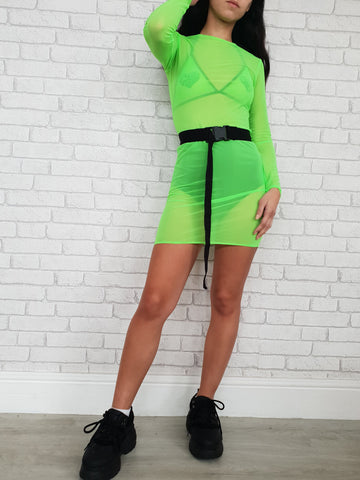 Lime Mesh Long Sleeve Dress
