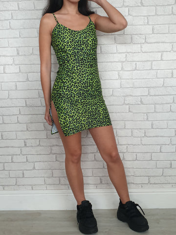 Green Leopard Split Dress