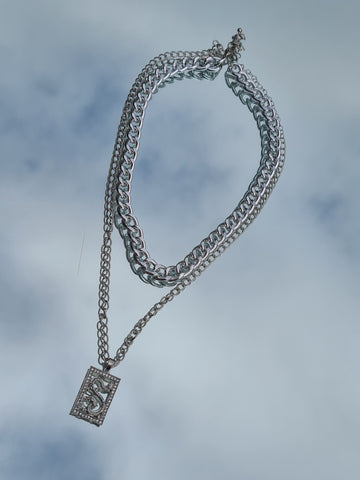 Silver Dragon Layered Necklace