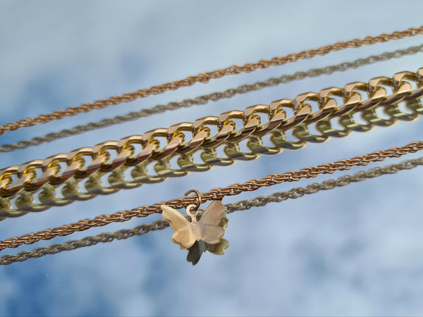 Gold Butterfly 3 Pack Anklets