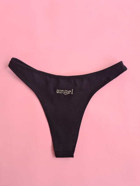 Black Neutral Embroidered Thong