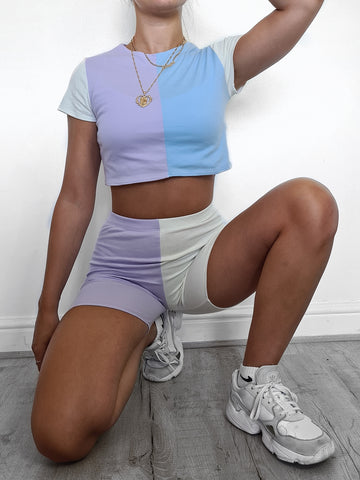 Colour Block Cropped Tee