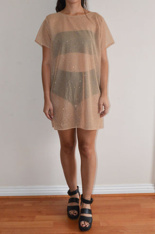 Nude Glitter Mesh T-shirt Dress