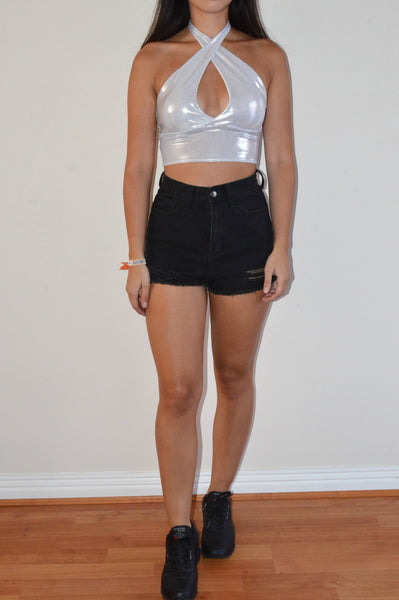 Silver Keyhole Top