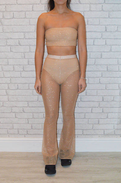 Nude Glitter Flares