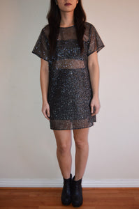 Black Glitter Mesh Tshirt Dress