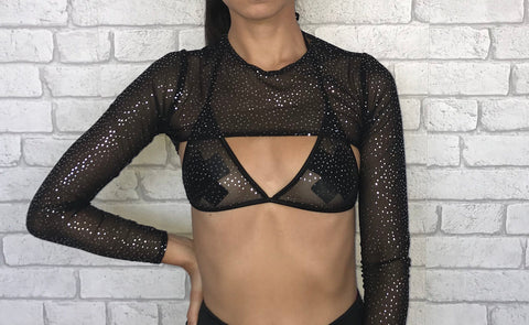 Black Disco Mesh Triangle Bra
