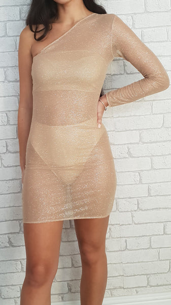 Nude Glitter Mesh One Sleeve Dress