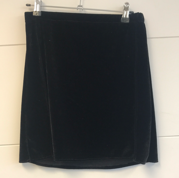 RTS Black Velvet Split Skirt