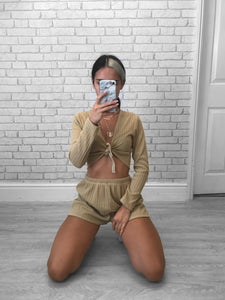 Tan Rib Knit Shorts