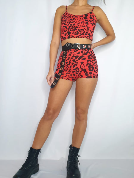 Red Leopard Two Piece