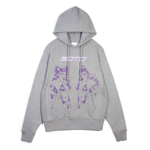 ANGEL DEVIL - GREY HOODIE WITH PURPLE GLITTER-METALLIC