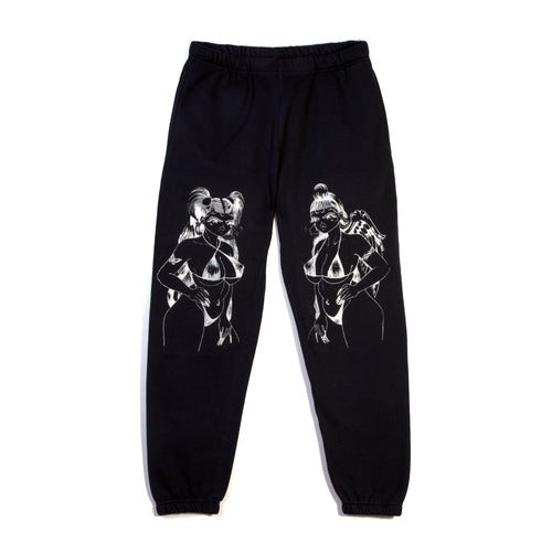ANGEL DEVIL BLACK SWEATPANT WITH SILVER GLITTER-METALLIC