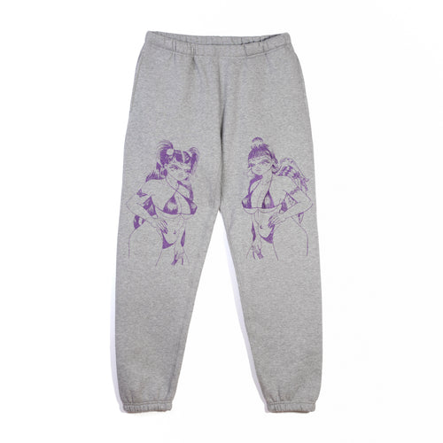 ANGEL DEVIL - GREY SWEATPANT WITH PURPLE GLITTER-METALLIC