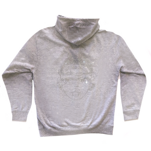 Limited Edition Rhinestone Zip Hoodie Grey