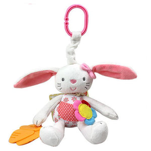 0+ Baby Toy Soft Rabbit Bunny Plush Doll Baby Rattle Ring Bell Crib Bed Hanging Animal Toy Teether Multifunction Doll