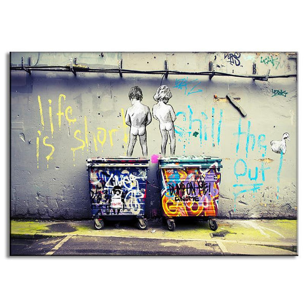 1 Pcs Modern Banksy Art Life Is Short Chill The Duck Out Wall Art Kids With Dustbin Painting Prints on Canvas Home Decor