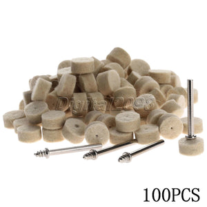 100 pcs pack 13 mm Felt Wool Polishing Buffing Round Wheels Grinding Pad with 4 pcs Dia 3.2 mm Shanks for DREMEL Rotary Tools