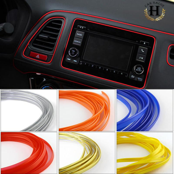10M Universal Car Styling Flexible Interior Internal Decoration Moulding Trim Decorative Strips Line DIY 7 Colors Car-Styling