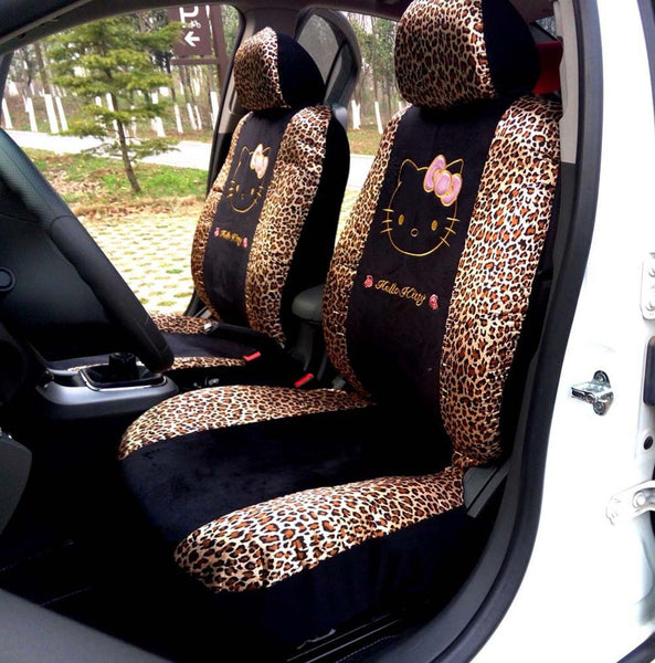 10pcs Universal Car Seat Covers Leopard Cartoon Universal Hello Kitty Car Seat Covers Universal Car Interior Accessories