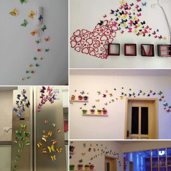 12Pcs Lot Gossip Girl Same Style 3D Butterfly Wall Stickers Colorful Lifelike Butterflies Decors For Home Fridage Decoration