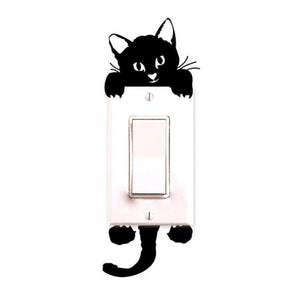1pc Switch Sticker Cat Cartoon Wall Sticker Light Door Glass Decor Decals Art Mural Baby Nursery Bedroom Feb 6