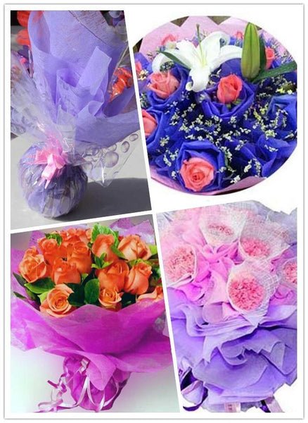 1pack(approx 38pcs) 50*50cm Bouquet Crepe Paper Wrapping Florist Flower Packing 049007019