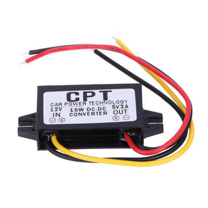 1Pc DC to DC 12V to 5V 3A 15W Auto Car Power Converter Regulator Adapter for Carcorder Navigation Audio
