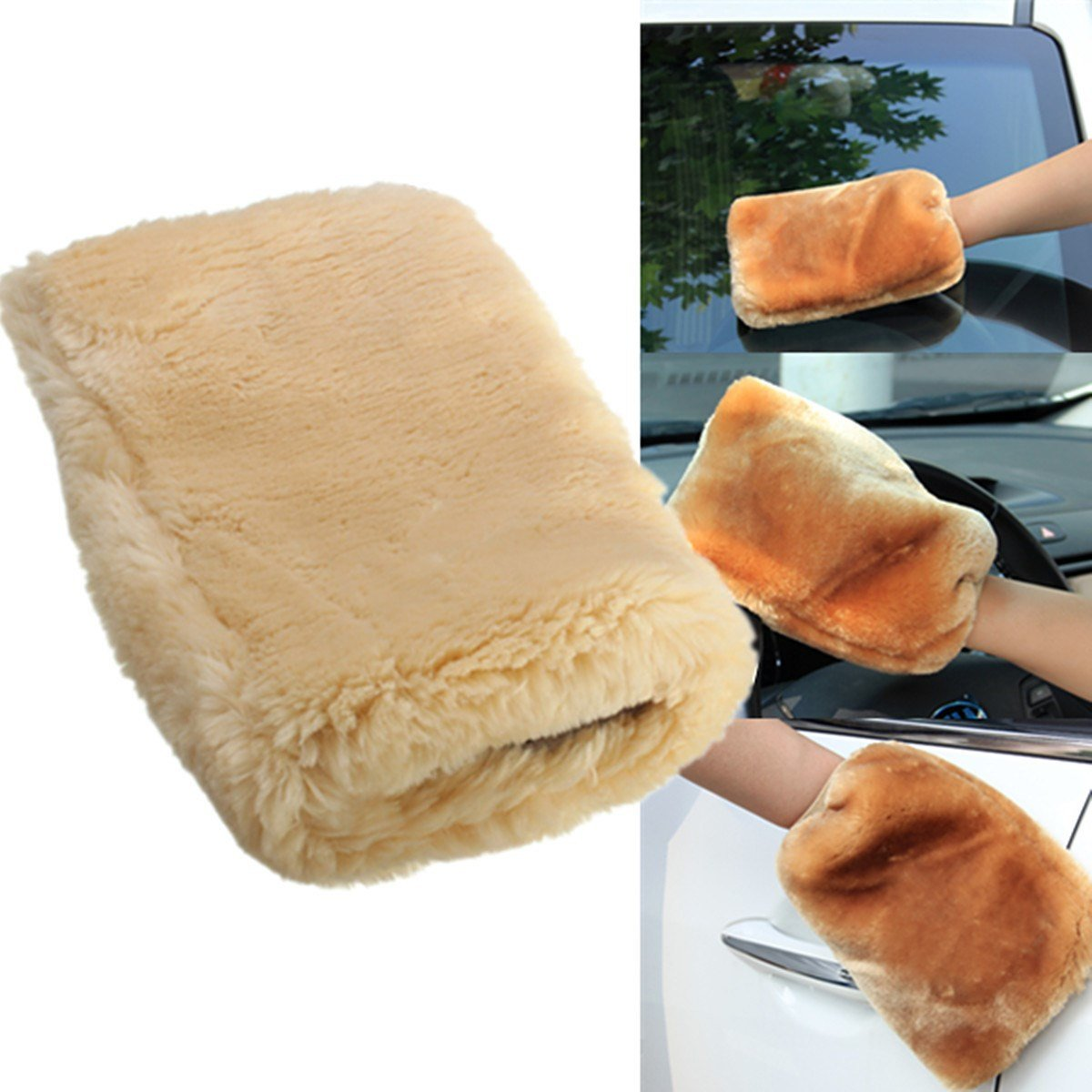 1Piece 24 x 16cm Lambswool Wash Mitt Soft Sheepskin Car Cleaning Glove