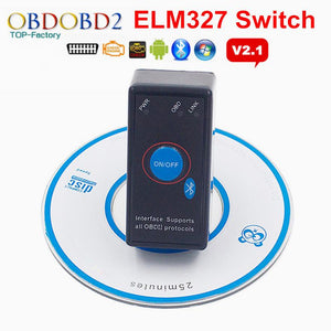 2016 Super Mini ELM327 Bluetooth V2.1 With On Off Button Power Switch ELM 327 OBD2 Car Diagnostic Scanner For OBDII Protocols