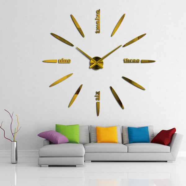 2017 home decor living room quartz modern wall clock fashion diy mirror stickes watch large decorative clocks