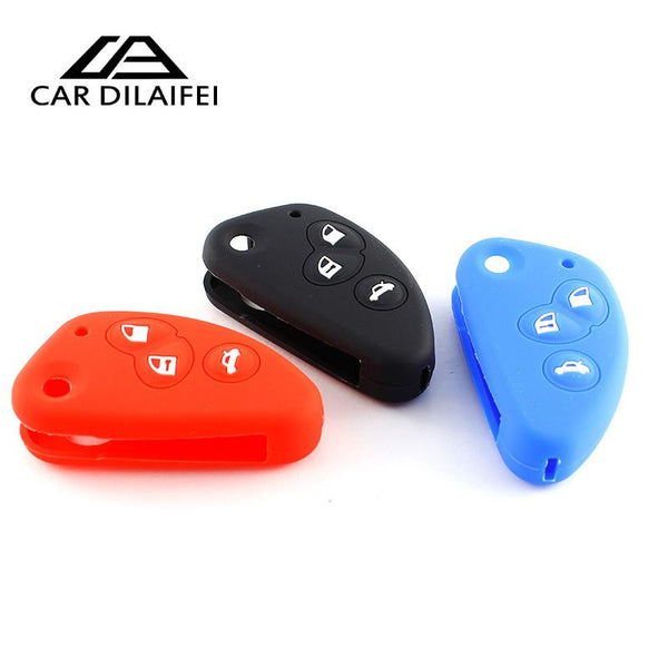 3 Button Silicone Rubber Key FOB Cover Case Shell Skin Protected for Alfa Romeo 147 156 166 GT JTD TS flip folding remote repair