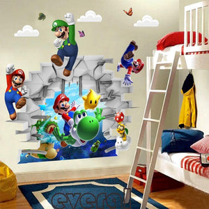 3D view Super Mario Games Art Kids room decor Wall sticker wall decals Mural WS