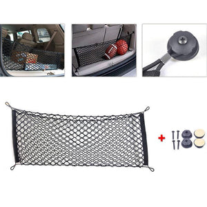 40*100cm Envelope Style Universal Trunk Cargo Net Car Mesh Storage Organizer with Mounting Screw Black Nylon Trunk Storage