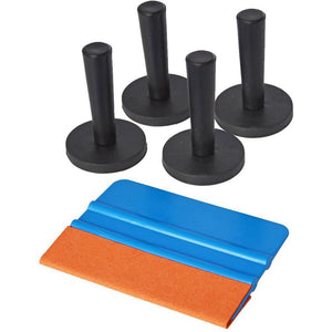 5 IN 1 Window Tint Tool Kit Include 1x 3M Suede Felt Squeegee 4x Gripper Magnet Holder for Car Vinyl Wrap Vinyl Application