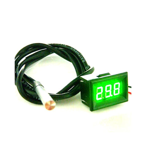 '-55 To 125 Celsius Green LED Waterproof Thermometer digital temperature Meter with DS18B20 Sensor 1m high precision