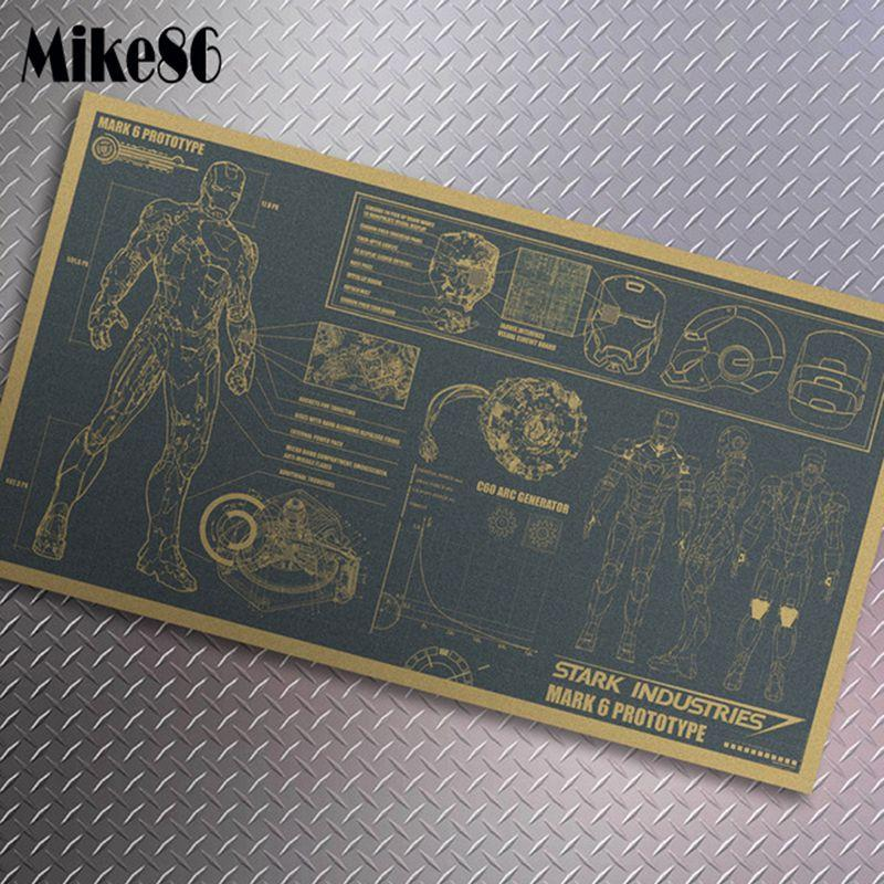 [ Mike86 ] IRON MAN DESIGN PAPER Classic Movie Vintage Poster House Decoration 46X25 CM MK-122