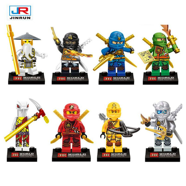 8pcs Lot Ninjagoes Minifigures Compatible Legoes Blocks Ninja Jay Lloyd Action Figures Toy Bricks Model For Kids