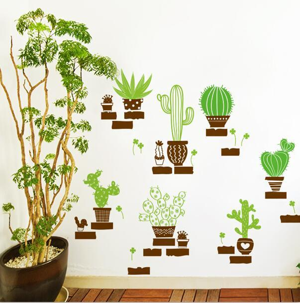 Cactus Bonsai Style Wall Stickers On The Wall Diy Bedroom Home Decor Pvc Vinyl Decals Decoration