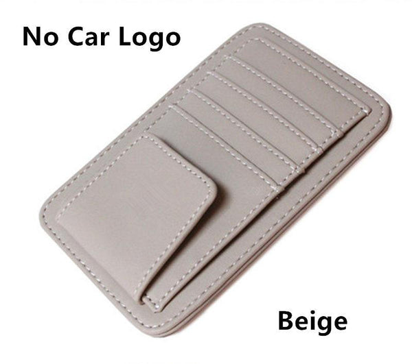 Car Styling Bag Car Logo Lether Glasses Storage Bag Clips Sun Visor Sunglasses Holder Clip Credit Id Card Package Bag For Car