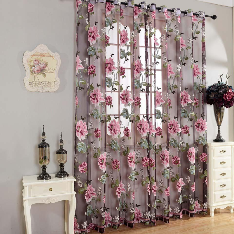 Purple Floral Tulle Curtains For Living Room Bedroom Kitchen Modern Window Curtain Translucidus Home Textile Blinds Custom Made