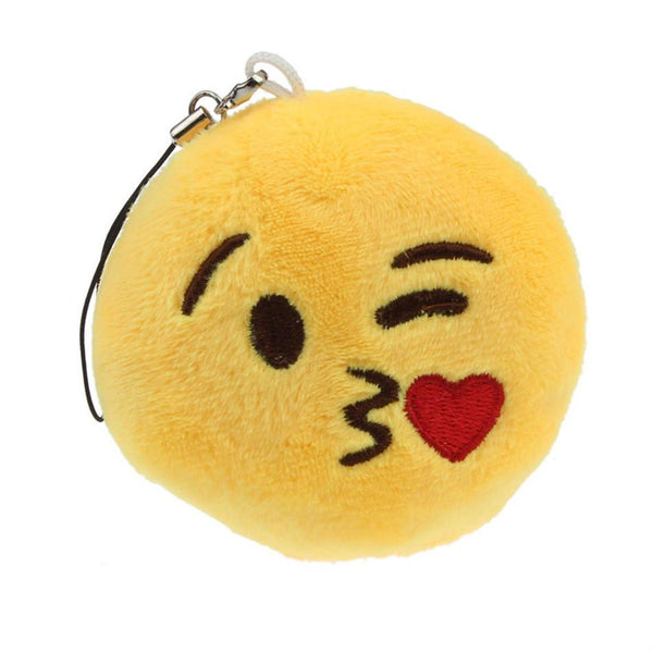 Vehicle 2016 Car-styling Cute Emoji Smiley Emoticon Throwing Kiss Key Chains Soft Toy Pendant Bag Accessory