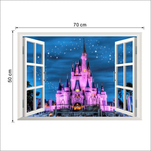 Windows View 3d Wall Stickers Decal Stickers Home Decor Living Room Nature Landscape Decals Castle Sea Wallpapers Wall Art