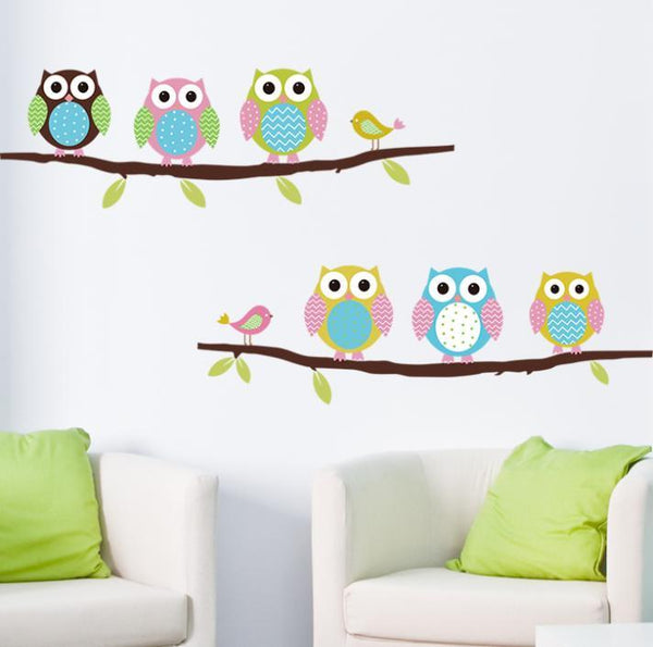 Animal cartoon owl tree vinyl wall stickers for kids rooms boys girl home decor sofa living wall decals child sticker wallpaper