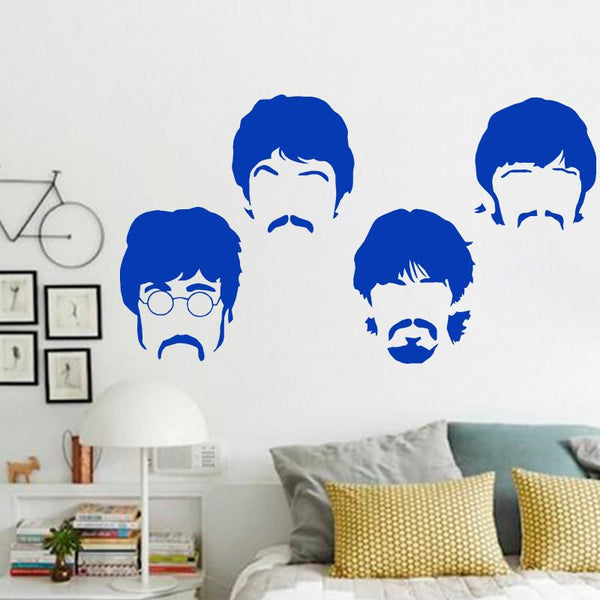 Art design vinyl home decoration Beatles wall sticker cartoon removable house decor British musician wall decal in bedroom