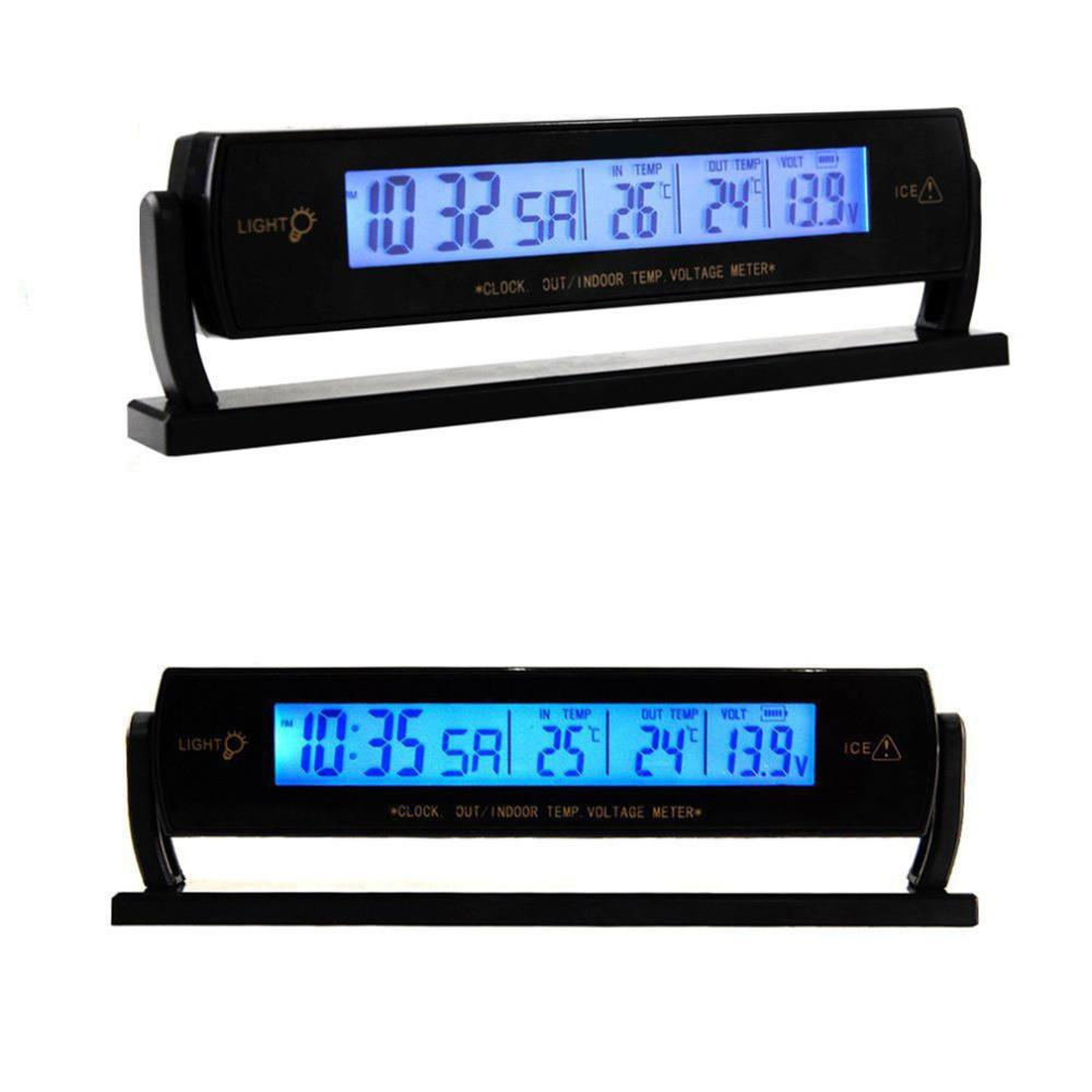 Auto Car Clock Voltage Digital LCD Car Temperature Thermometer Alarm Clock #