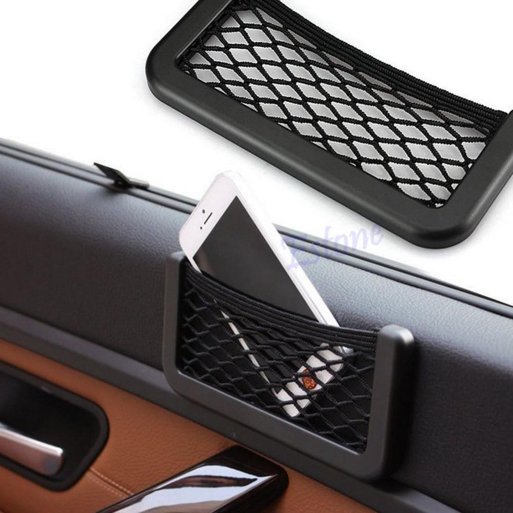 Auto Car Vehicle Storage Nets Resilient String Bag Phone holder Pocket Organizer