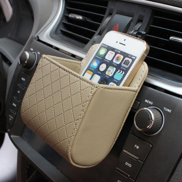 Auto Car Vent Outlet Trash Box PU Leather Car Mobile Phone Holder Bag Hanging Box Car Styling Black Brown Beige